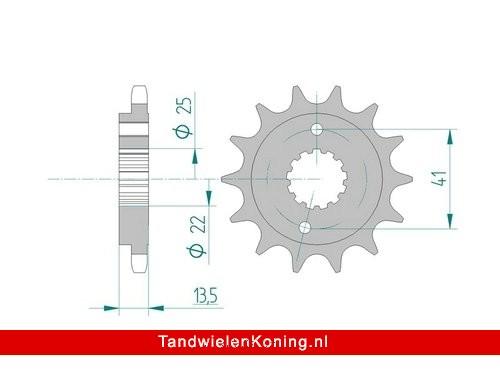 Afam Voortandwiel 16T Type 20507 #525 Staal